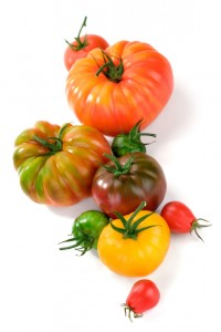 A wide variety of flavorful Heirloom Tomatoes. Shallow dof